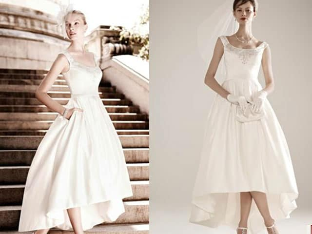 A tale of no train our take on the short wedding dress for Wedding dresses no train