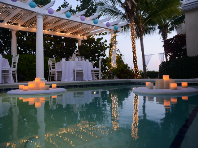 Sparkling pool-side wedding