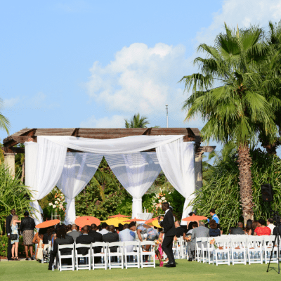 Orange Cayman Wedding