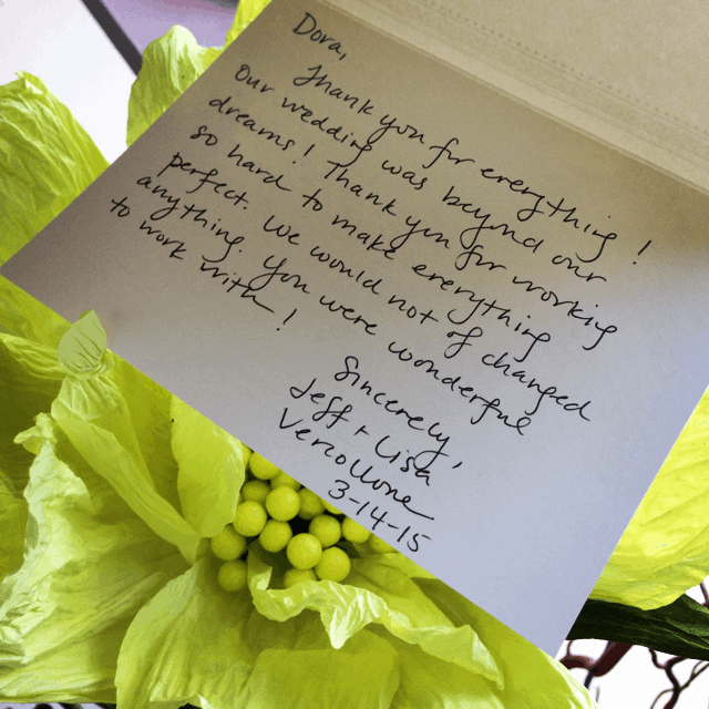 Very sweet thank you notes from one of our sweet brides
