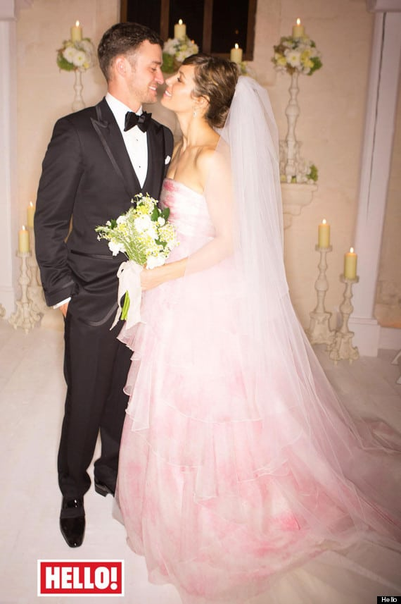 PLEASE NOTE: UK AND IRELAND ONLY.  THIS PICTURE MUST ONLY BE USED IN CONJUNCTION WITH THE FRONT COVER OF THIS WEEKS HELLO! MAGAZINE. NO SALES NO ARCHIVE. EDITORIAL USE ONLY. Handout photo issued by Hello! Magazine of Justin Timberlake and Jessica Biel on their wedding day. PRESS ASSOCIATION Photo. Issue date: Monday October 29, 2012. The Hollywood pair tied the knot at the Borgo Egnazia resort in Puglia, Italy. See PA story SHOWBIZ Timberlake. Photo credit should read: Hello! Magazine/PA Wire NOTE TO EDITORS: This handout photo may only be used in for editorial reporting purposes for the contemporaneous illustration of events, things or the people in the image or facts mentioned in the caption. Reuse of the picture may require further permission from the copyright holder.