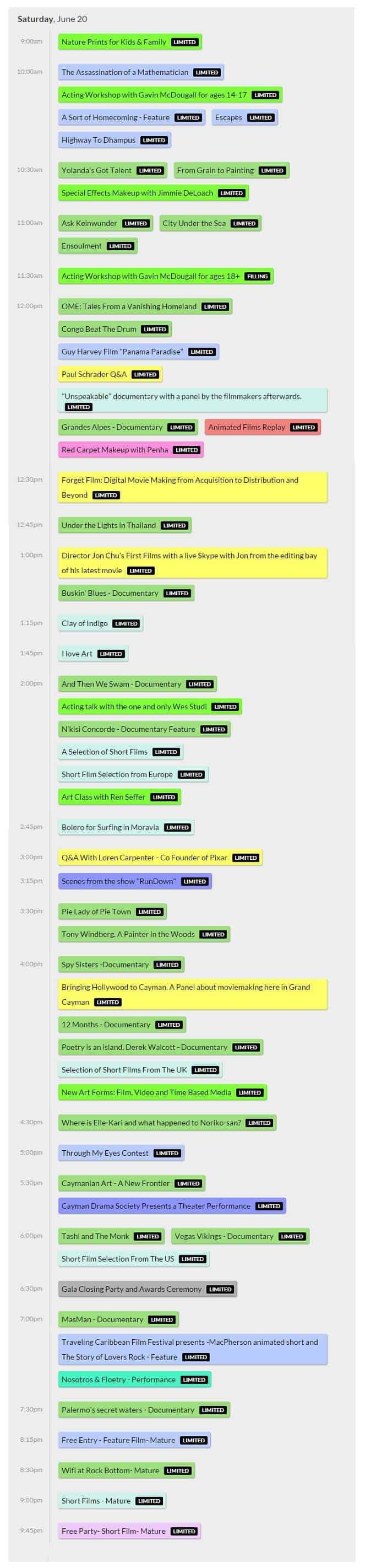 cayfilm schedule 2