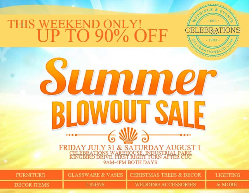 GIANT BLOWOUT GARAGE SALE! THIS WEEKEND ONLY AT CELEBRATIONS!