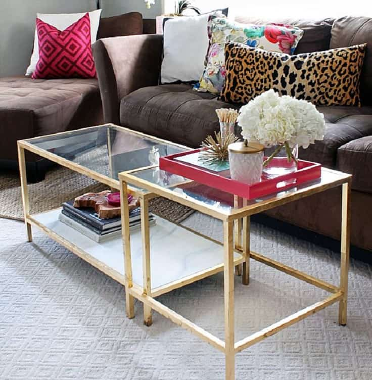 Coffee Table With Golden Accents