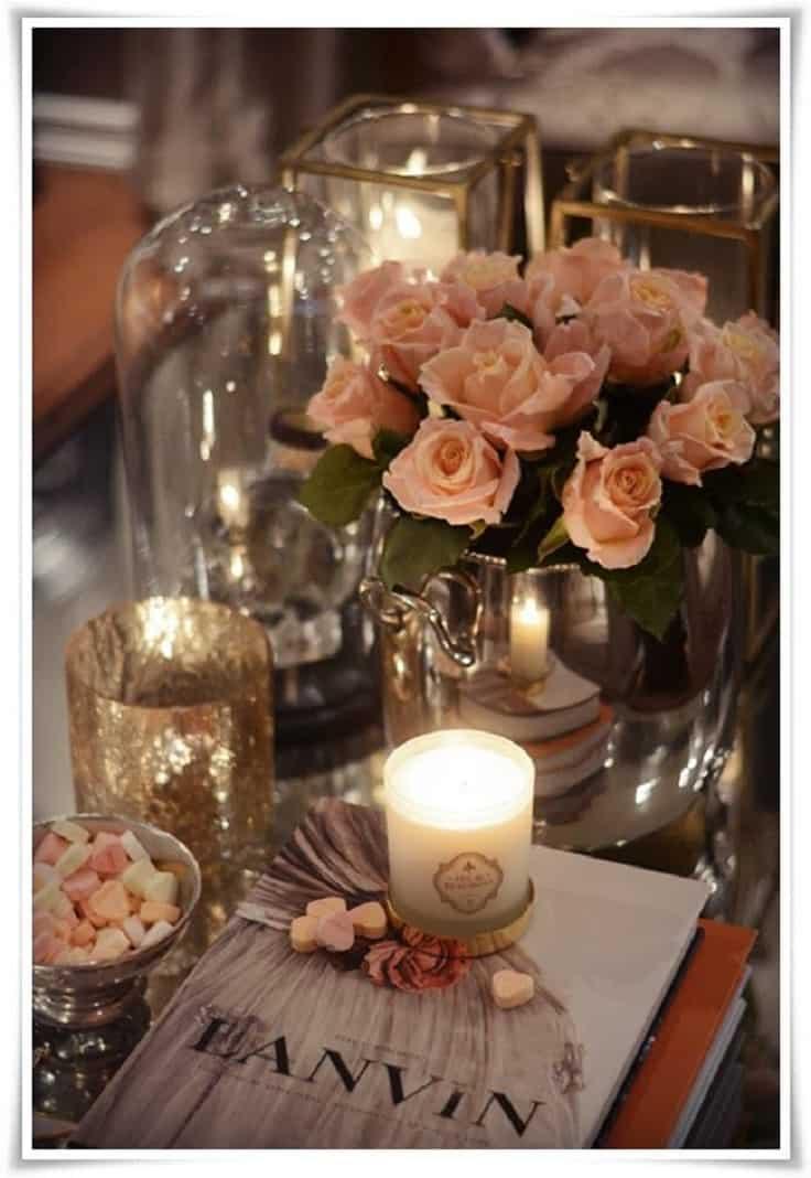 Pretty-feminine-coffee-table-decor