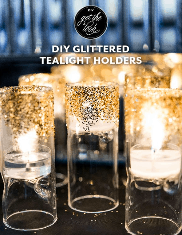 DIY GLITTERED TEALIGHT HOLDERS