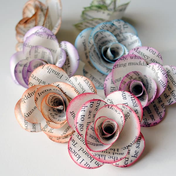 18 decorative uses for old books celebrations blog celebrations ltd paper flowers mightylinksfo