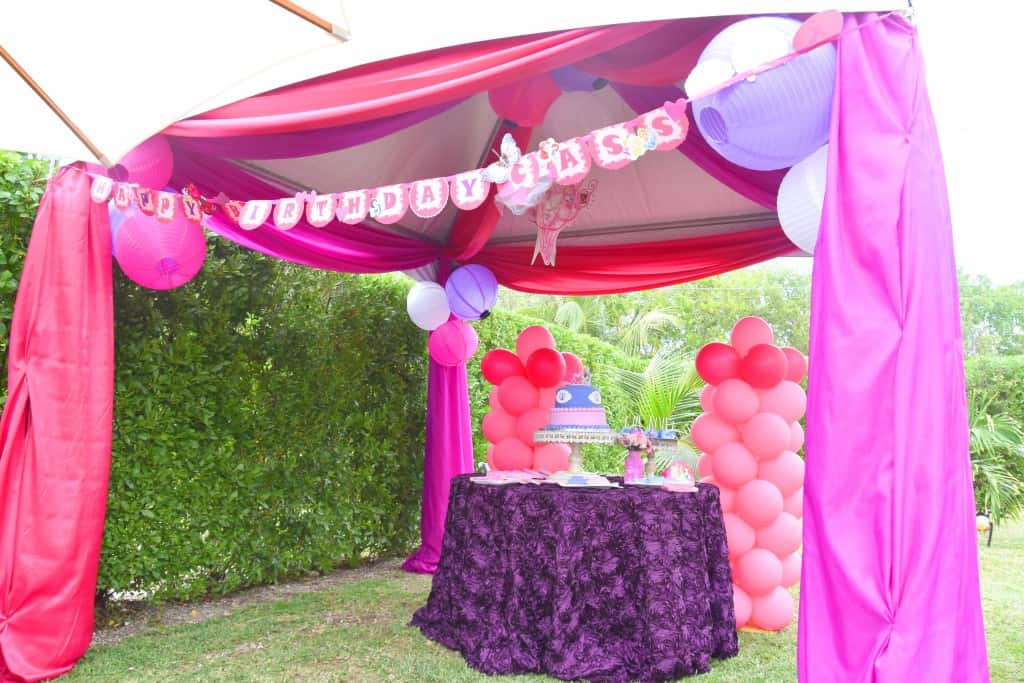 canopy, cayman party rentals, princess party, party theme, girls party, princess themed party