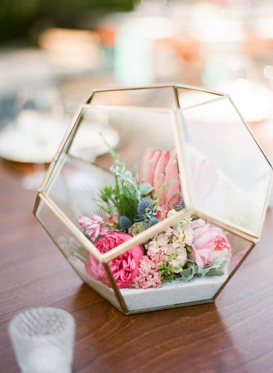 modern and rustic wedding centerpiece