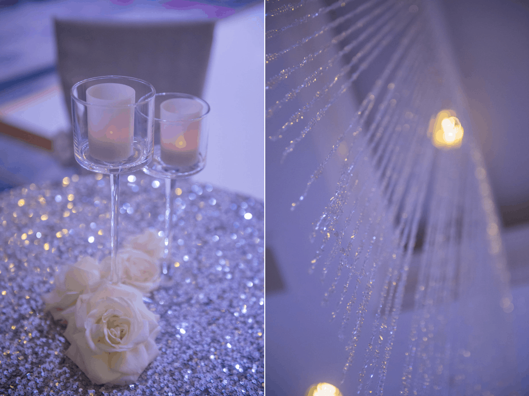 luxurious destination wedding cocktail tables of silver sequin tablecloths and crystal strands
