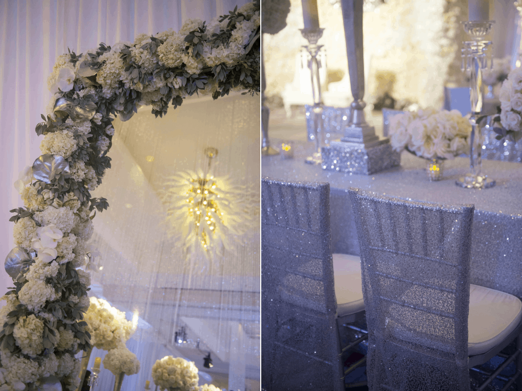 beautiful sheer sparkle chivari chair covers and large mirror with flower border created by celebrations for destination wedding in cayman islands