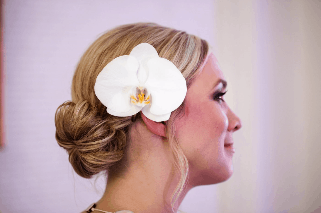 Phalaenopsis orchid bridal hairpiece
