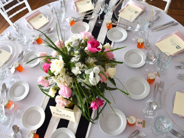 Modern Trendy Islands Wedding: Pink Meets Black & White Stripes