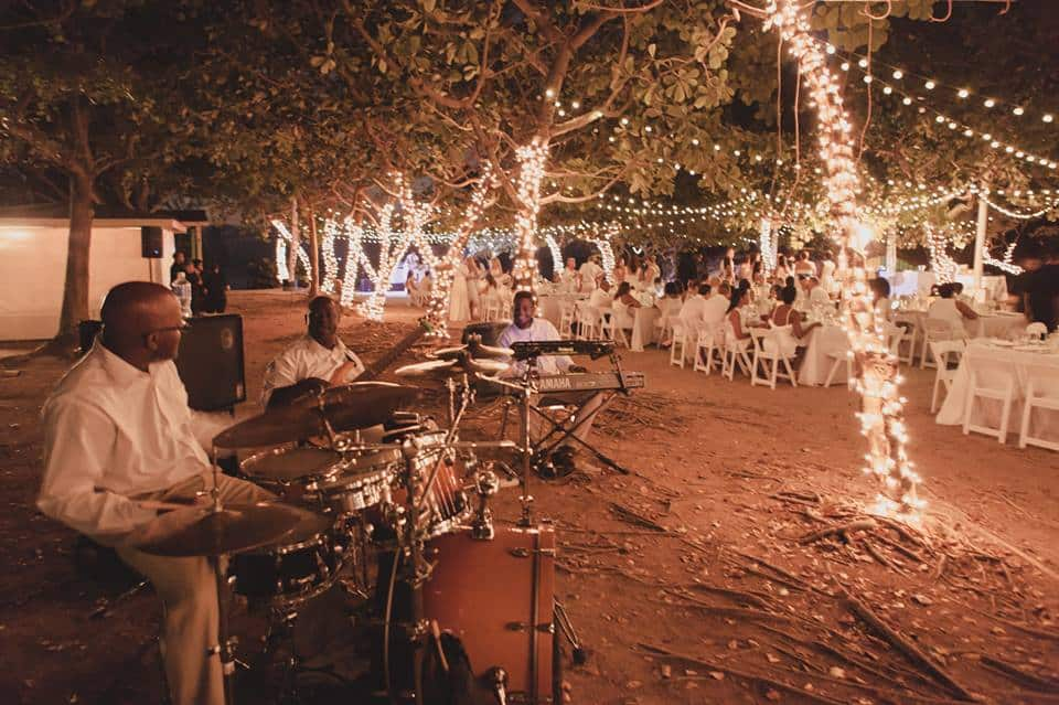 Twinkle lights all throughout the outdoor space - absolutely magical lighting by Celebrations Ltd.