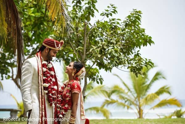 Tropical Red & Gold Indian Destination Wedding in the Cayman Islands, Bride & Groom