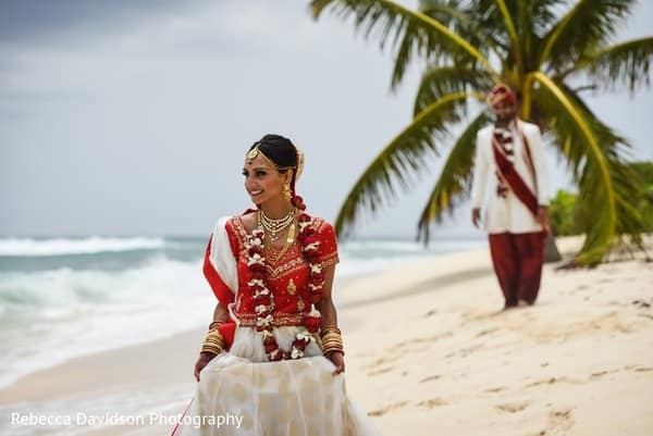Red & Gold Indian Destination Wedding in the Cayman Islands, Bride & Groom