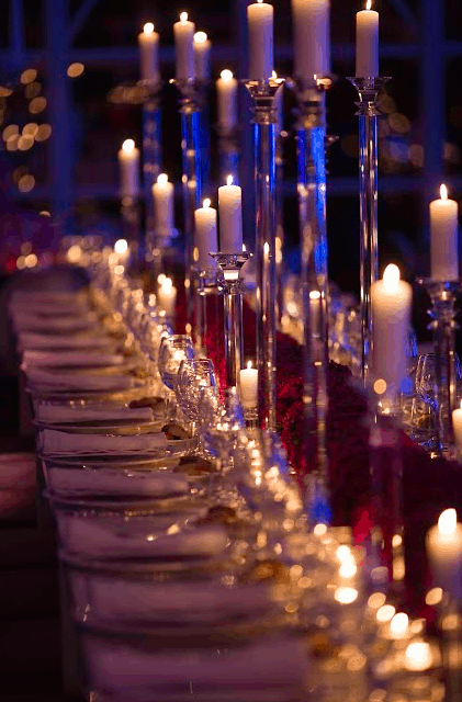 Beautiful Wedding Table with candelabra crystal in italy
