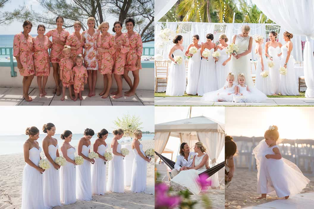 Bridal Party - all white wedding - getting married in the cayman islands