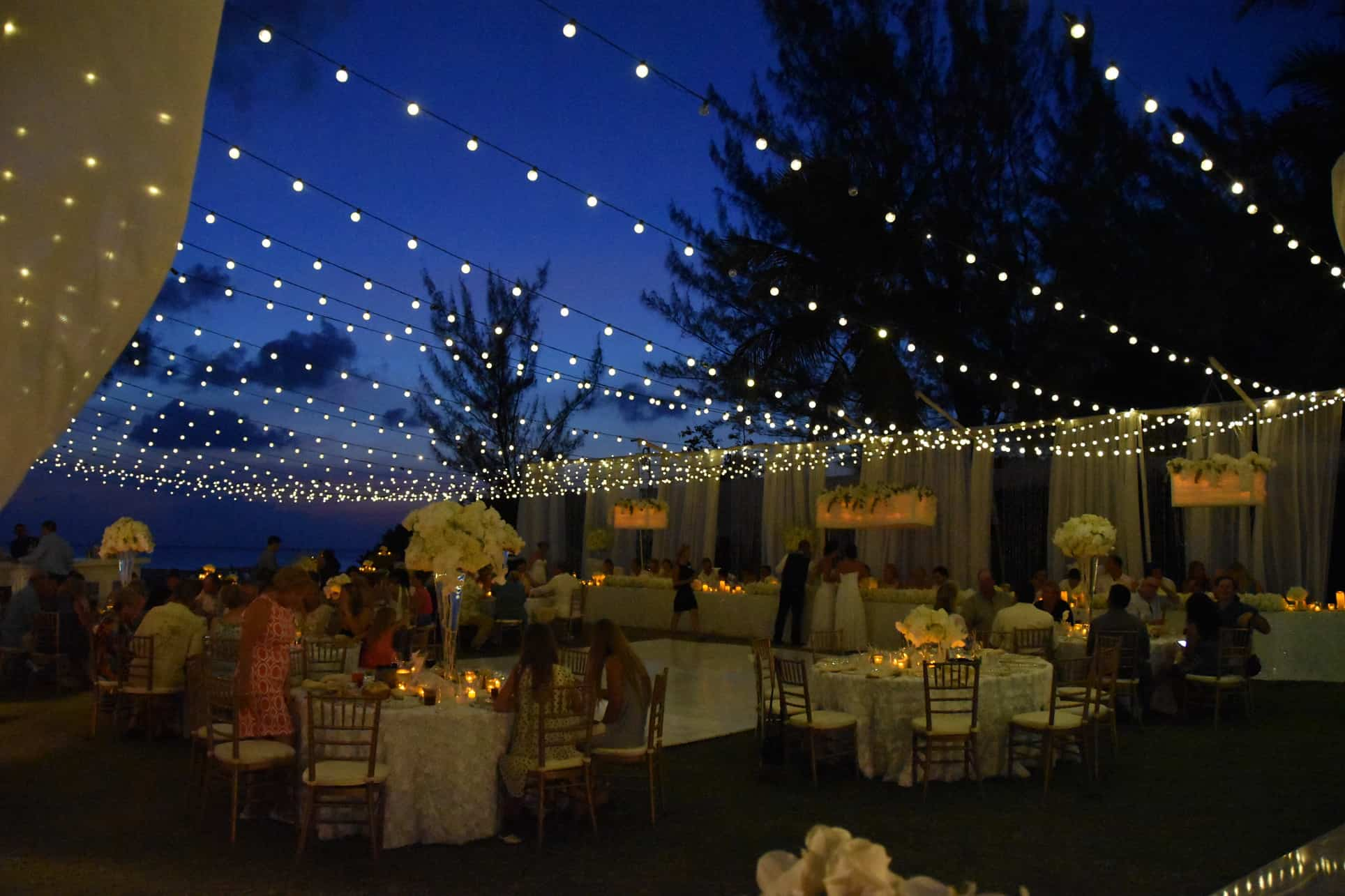 wedding under the moonlight reception beach, twinkle lights, fairy lights, party globe lights