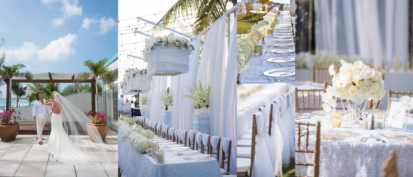 wedding reception luxury orchids - all white wedding - getting married in the cayman islands