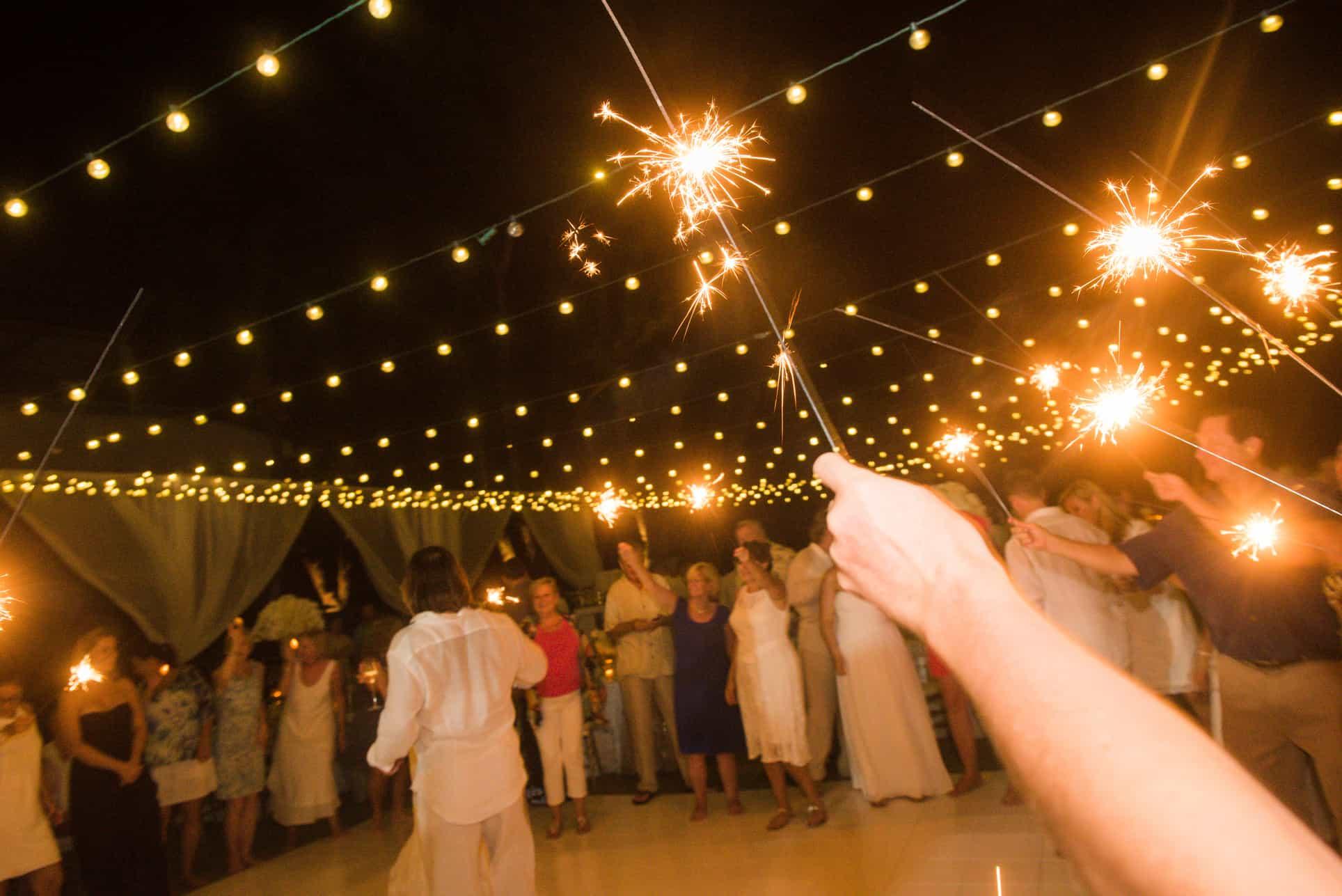 wedding sparkler reception beach