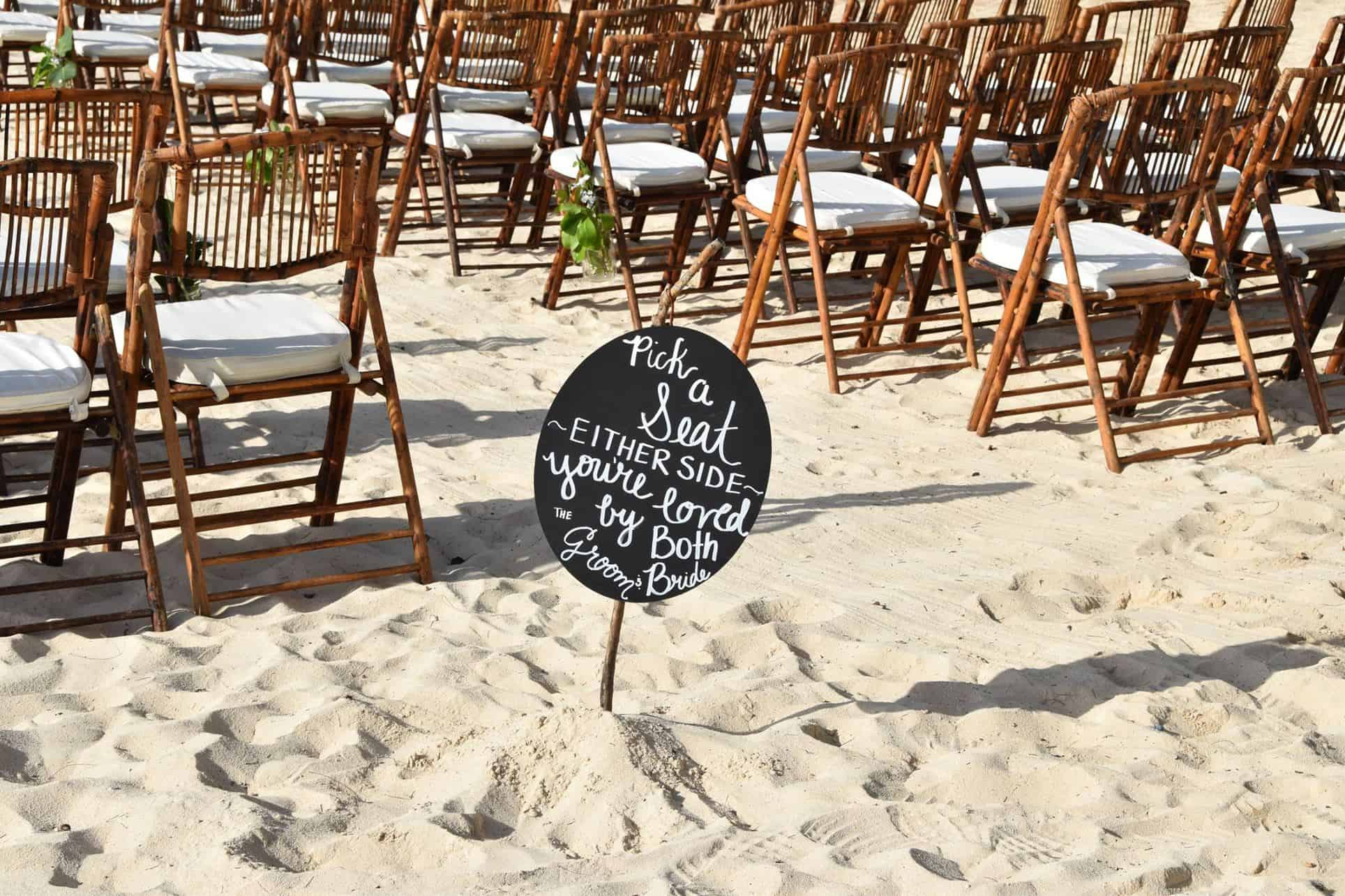 Cute Boho Beach Wedding Ceremony Seating Sign