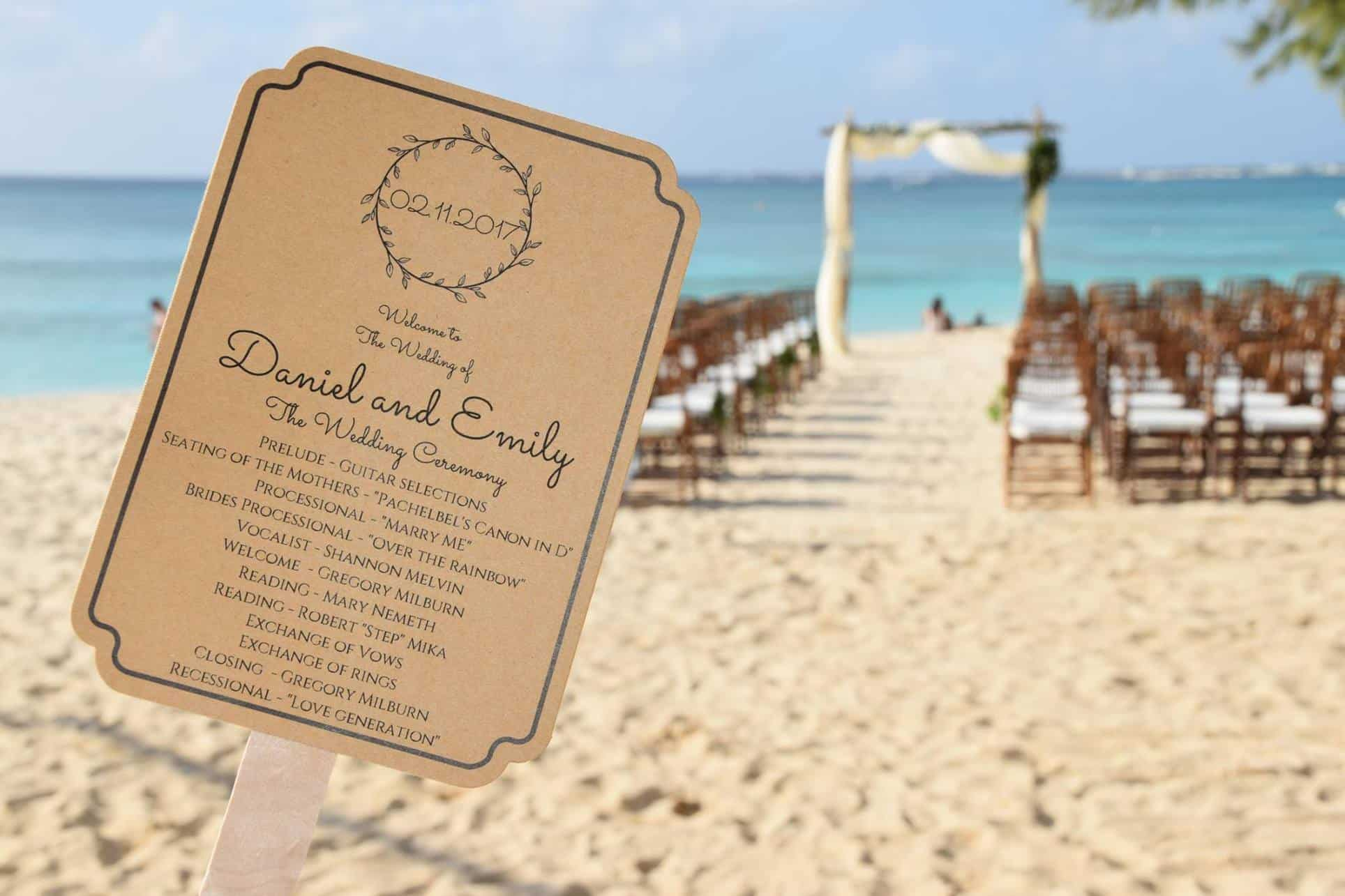 Boho Beach Wedding Ceremony Seating Program