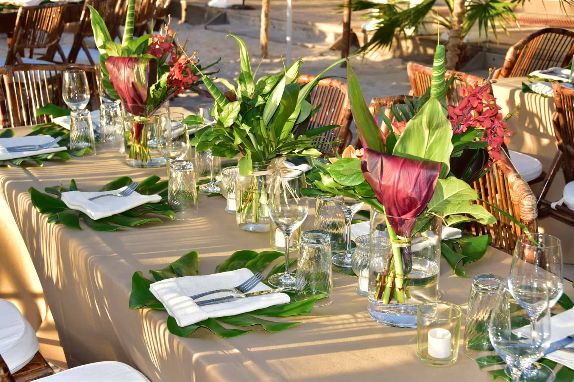 beautiful tropical corporate event reception table tablescape in the cayman islands by celebrations ltd.
