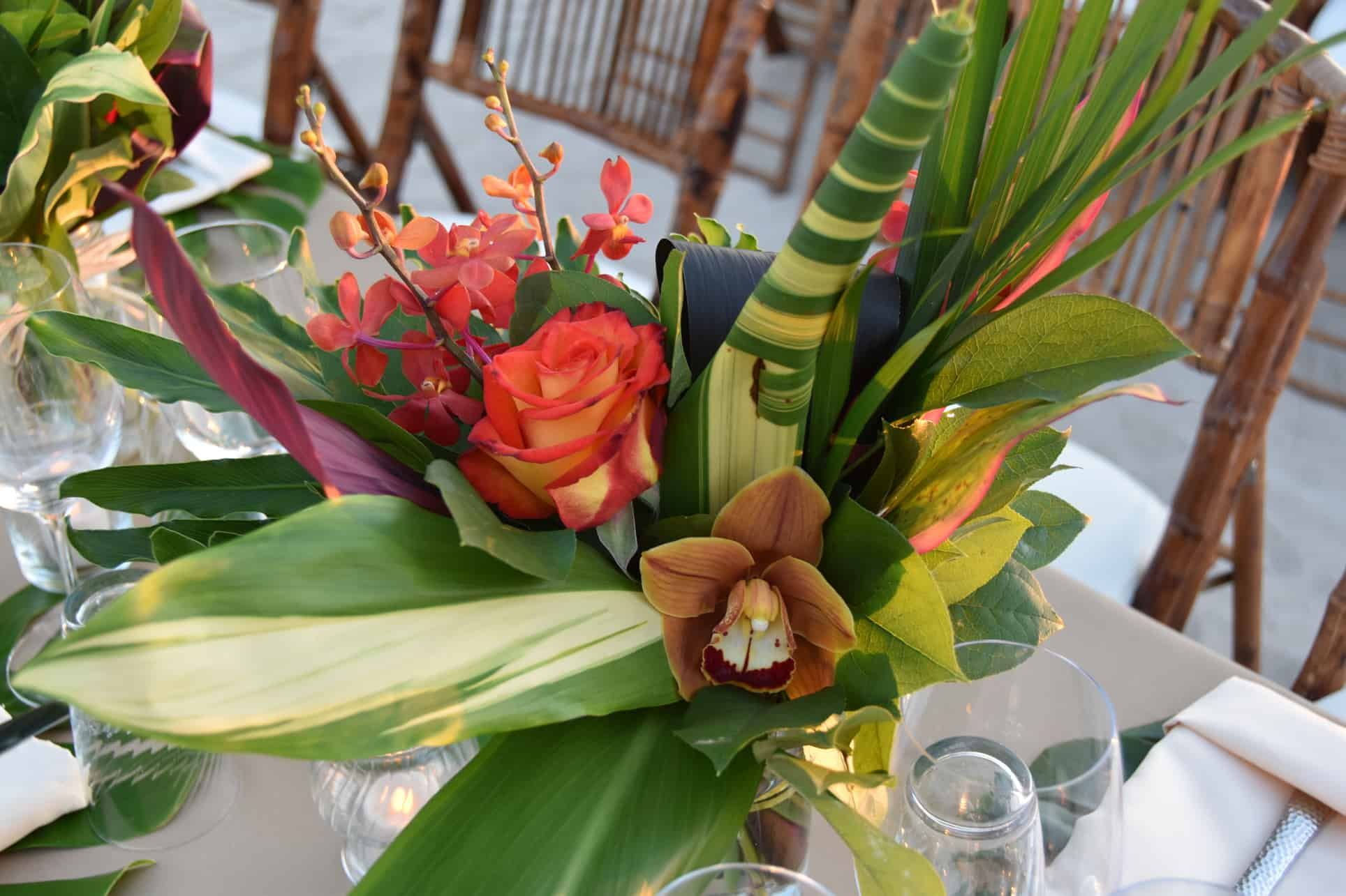 tropical corporate event centerpiece cayman islands on the beach by celebrations ltd
