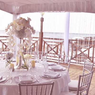 ELEGANT WHITE DECOR BY CELEBRATIONS LTD. FOR CAYMAN ISLANDS EVENT AT GRAND OLD HOUSE