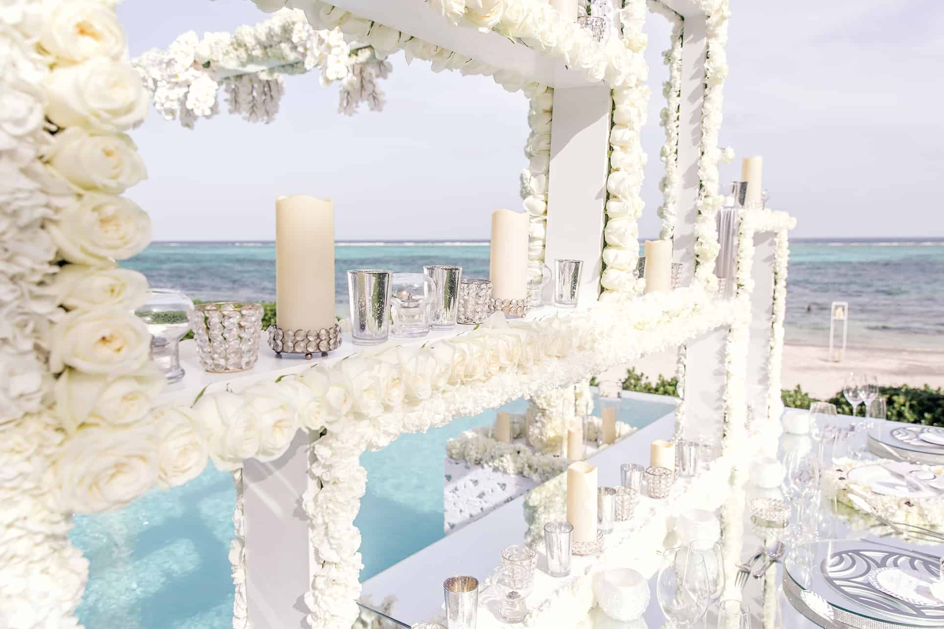 Silver White Destination Wedding Design and Decor by JoAnne V Brown of Celebrations Ltd & JVB Design House in the Cayman Islands