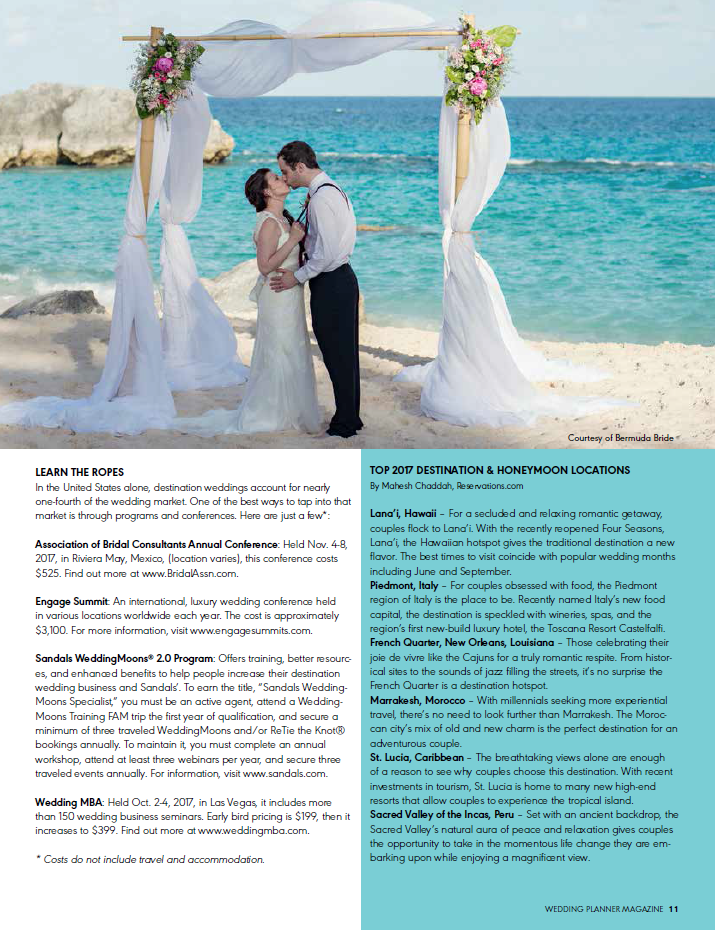 JoAnne V. Brown CEO of Celebrations Ltd in the Cayman Islands contributes to the July August 2017 issue of Wedding Planner Magazine