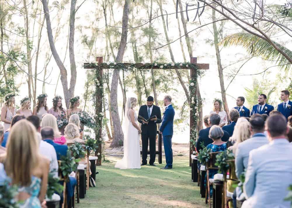 Elegant botanical bohemian wedding ceremony and arch