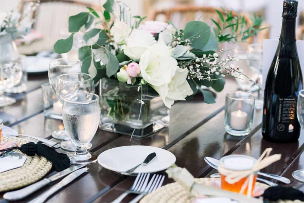 Table decor for an elegant bohemian wedding in Grand Cayman