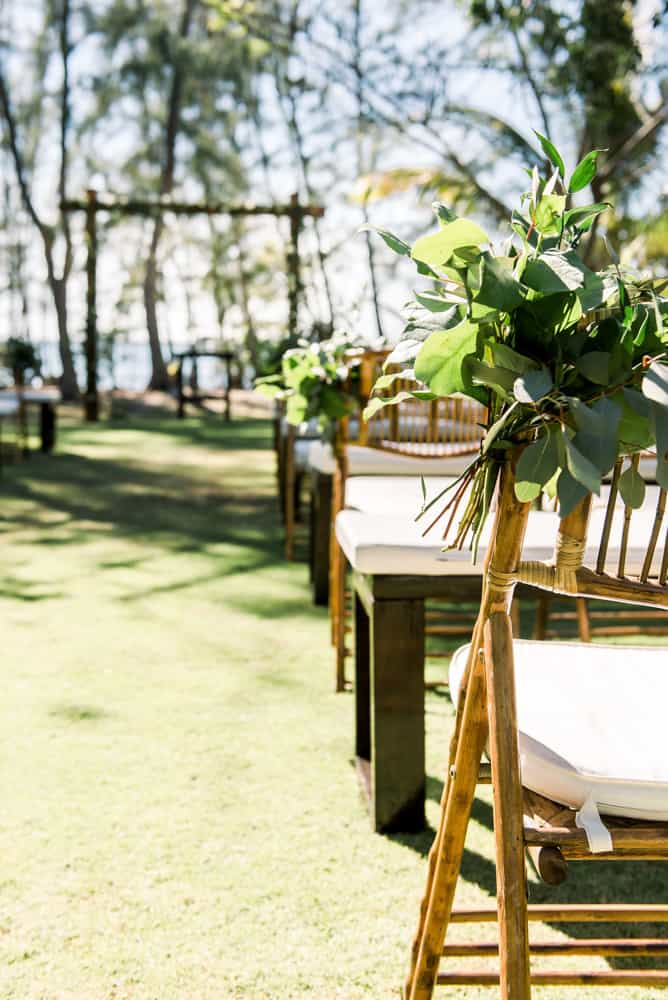 Bamboo chairs for elegant bohemian wedding ceremony in Grand Cayman