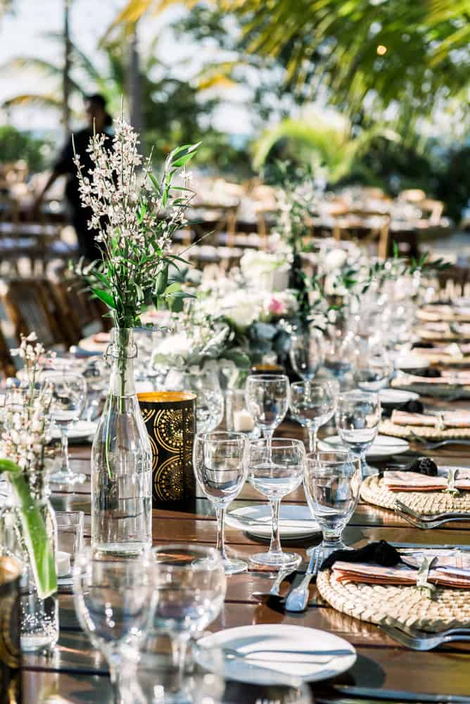 Elegant bohemian table decor for your wedding in Grand Cayman by Celebrations Cayman Islands wedding planner