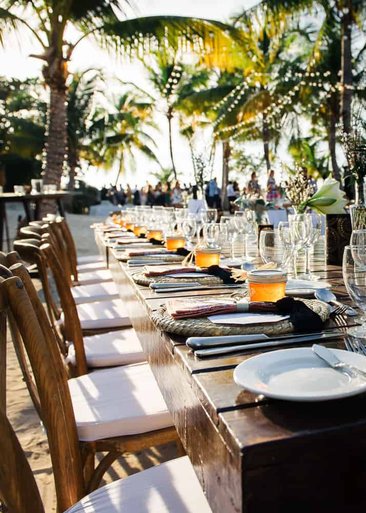 Elegant bohemian table setting for wedding in Cayman Islands