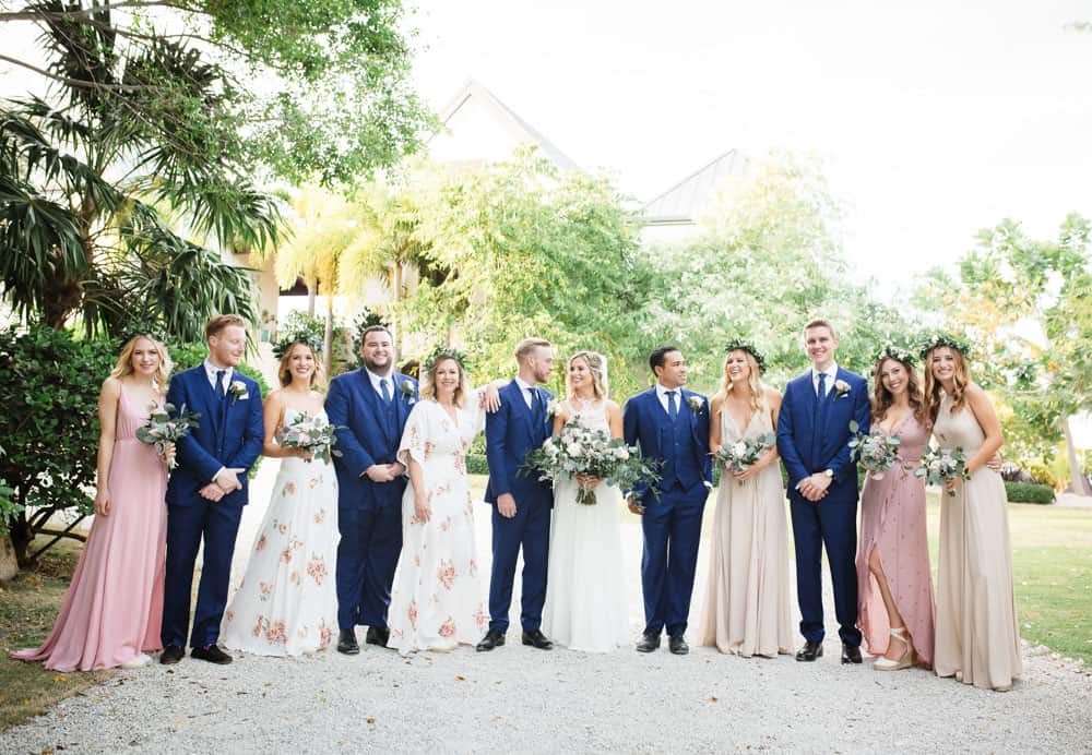 Bridal party for elegant bohemian wedding in the Cayman Islands by Celebrations Weddings & Events